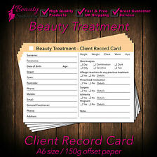 Beauty Client Card / Client Record Card / Treatment Consultation Card, A6, x50