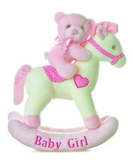 """Musical Wind Up Teddy Bear Rocking Horse for Baby Girl and Boy ~ 12"""" Aurora NEW"""