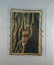 ORIGINAL PAINTING BROWN ART PAPER IN PICTURE FRAME BUDDHA STATUE UNSEEN THAILAND