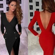 Irregular Sexy Women Backless Deep V Neck Club Slim Bodycon Party Dress New LM