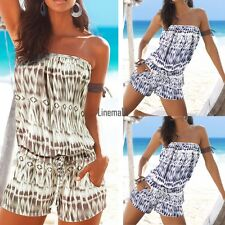 Sexy Women Summer Slash Neck Off Shoulder Print Short Jumpsuit Playsuit LM