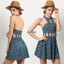 Sexy Women Halter Cut Out Hollow Backless Print Skater Cocktail Dress LM