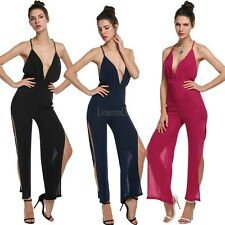Women Sexy Deep V-Neck Sleeveless Backless Side Slit Leg Jumpsuit Rompers LM