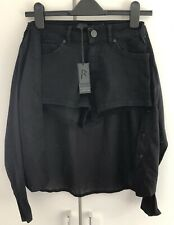 Rihanna River Island Black Denim Hotpants Shorts Tied Shirt UK 6 US 2 BNWT