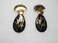 Vintage Pierced Earrings Metal Black Enamel Gold Tone Art Deco