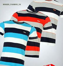 Mens Designer Lee Cooper Everyday Yarn Dye Crew T Shirt Striped Top Size S-XXL