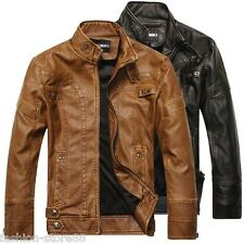 New Casual Mens PU-Leather Jacket Biker Slim Fit Motorcycle Jackets Blazer Coats