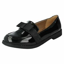 SALE Spot On F80122 Ladies Black Synthetic Patent Casual Work School Shoes