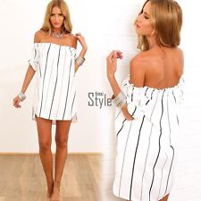 Sexy Boho Ladies Striped Off-Shoulder Casual Loose Mini Dress Long Tops Blouse