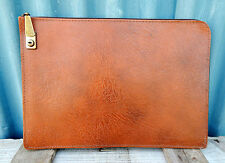 Vintage Retro Zip Up Document Folder  Briefcase - Faux Leather - Mid Century