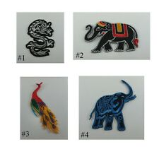NEW DRAGON ELEPHANT PEACOCK EMBROIDERED IRON ON PATCH T-SHIRT FREE SHIPPING