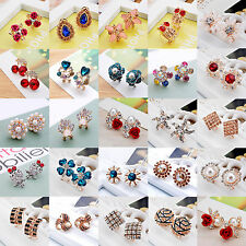 New Elegant Women/Girls Gold Silver Crystal Rhinestone Flower Ear Stud Earrings