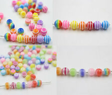 New 100/200Pcs Mixed Colorful Round Acrylic Loose Spacer Beads DIY 6mm 8mm