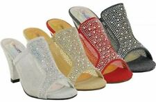 LADIES OPEN TOE GLITTERY MESH DIAMANTE PARTY EVENING MULES SANDAL 3-8 LSA-5315