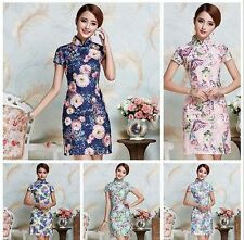 blue Chinese Style embroider women's lace Dress/Cheong-sam sz:S -2xl