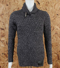 Superdry Mens Orchard Henley Grey Nep Shawl Neck Knit  Jumper Ship Worldwide
