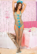 Diamond Net Crotchless Suspender Bodystocking + Bows Sexy Lingerie P1630