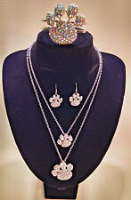 Paris Collection Rhinestone Bling Paw Print Jewelry/necklace/earrings/bracelet