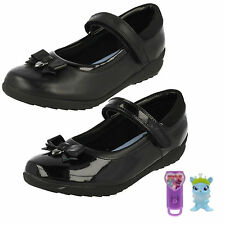 GIRLS CLARKS LEATHER VELCRO STRAP BOW DETAIL MARY JANE SCHOOL SHOES TING FEVER