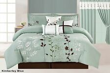7Pc Floral Embroidered Microfiber Comforter Set Sage Teal Brown Twin - Cal King