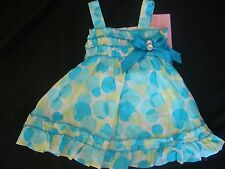 NWT Young Hearts Toddler Girls 18 mo Blue Polka Dots Sundress dress