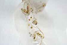 """Lily White 2-3/8""""  Gold Beaded Sequin Embroidery Organza Lace Trim Insertion"""