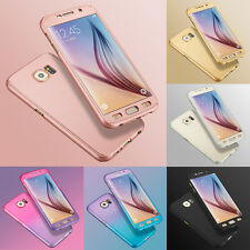 Hybrid 360° Hard Ultra thin Case+Tempered Glass Cover For Samsung Galaxy Model