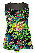 New Simply Be Emily Black Green Floral Peplum Top Plus Size 16 - 26
