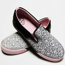 Slip on gothique, rock, emo DRAVEN SKULLENTINE Black pink