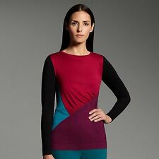 Womens M COLORBLOCK Shirred TOP Black Purple NARCISO RODRIGUEZ for DESIGNATION