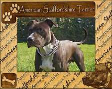 AMERICAN STAFFORDSHIRE TERRIER: ENGRAVED ALDERWOOD PICTURE FRAME #0008. 4 sizes