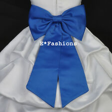 ROYAL BLUE TIE BOW SASH FOR WEDDING FLOWER GIRL DRESS sz S M L 2 4 6 8 10 12 14