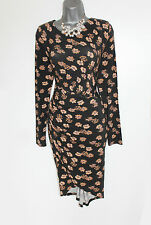 *MONSOON*Black and Brown Floral Print Wrap Style 3/4 Sleeves Jersey Dress sz-8 S