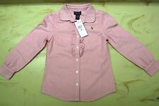 Ralph Lauren Oxford Tunic Shirt Pink Long Sleeve Ruffles Cotton Kid Girls NWOT