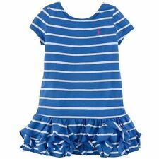 Ralph Lauren Short Sleeve Stripe Ruffle Dress Toddler Girls Blue white classic