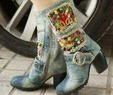 Vintage Womens Denim Canves Shoes High Heels Block Floral Buckle Mid Calf Boots