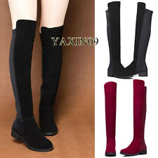 WOMENS LADIES BLACK OVER THE KNEE THIGH HIGH low-heeled PLATFORM BOOTS Leather