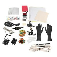 Tattoo Power Supply Kit Gun Machines 10 Color Inks Tattoo Skins Needles Tips Set