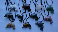 NATURAL HEALING Crystal Hand carved 3D Dolphin Gem Stone pendant cord necklace
