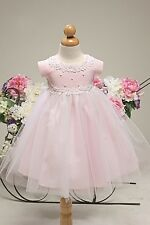 NEW SATIN PEARL BABY FLOWER GIRL DRESS HOLIDAY PARTY WEDDING COMMUNION B800