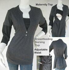 JENNY Maternity Clothing, Nursing Tops GREY Breastfeeding Shirt NEW Pregnancy