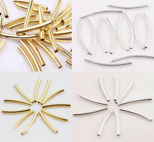 50-200Pcs Curved Tube Silver Gold Plated Elbow Noodle Spacer Loose Bead Finding