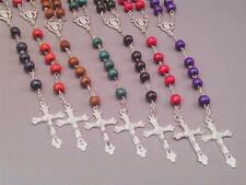 Rosary Necklace 8mm Wood Bead Silver Detail Crucifix Chain Center VARIOUS COLORS