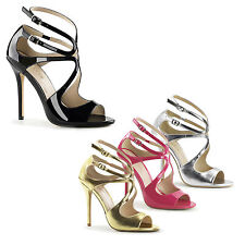 PLEASER - Amuse-15 Stunning Sandals With Waving Design, Peep Toe, Strappy