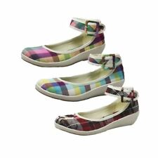ladies Canvas low wedge shoes with ankle strap