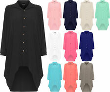 Ladies Womens Button Hi Lo Long Sleeve Collared Chiffon Shirt Dress Top 10-18