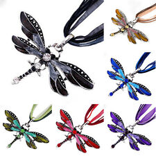 Retro Silver Jewelry Pendant Dragonfly Crystal Sweater Chain Necklace Xmas Gift