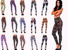 Lot 10 Women's Patterned Graphic Solid Leggings Stretch Tight Pants OS S M L