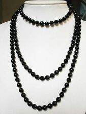 black onyx 10mm round beads rope necklace A+