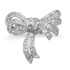Bow Ring with Pave Cubic Zirconia Stones Rhodium Plated Brass